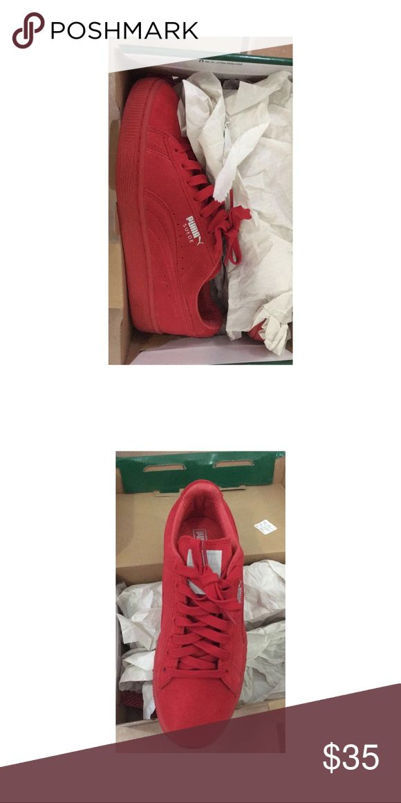 Puma Suede Red Brand new, never worn ! Puma Shoes Sneakers