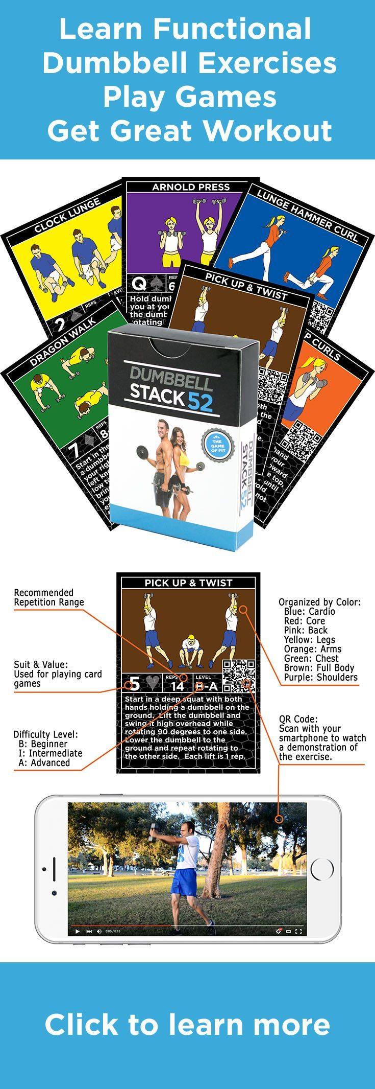Dumbbell exercise cards strength stack 52 card workout