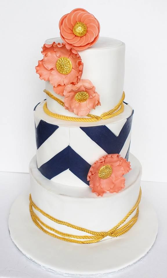 Navy chevron stripes makes this Sugar House Cakes so unique