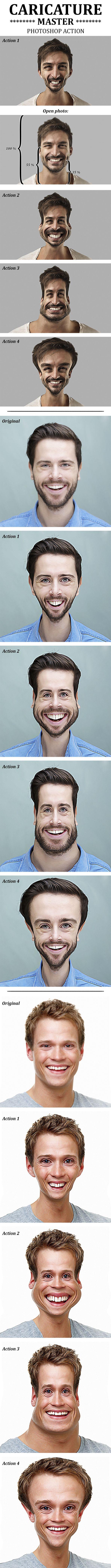 Caricature Master Photoshop Action - Actions Photoshop