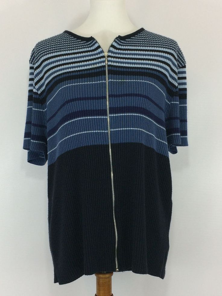Womens Sweater Plus SZ 22/24 Blue & White Strip TOP #Unbranded #KnitTop #Casual