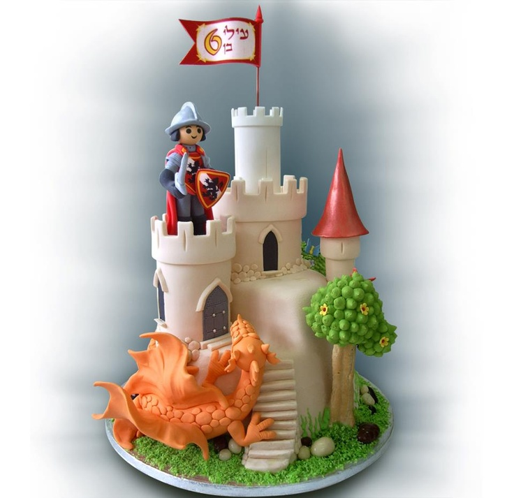 Knight and Castle cake - love the dragon!
