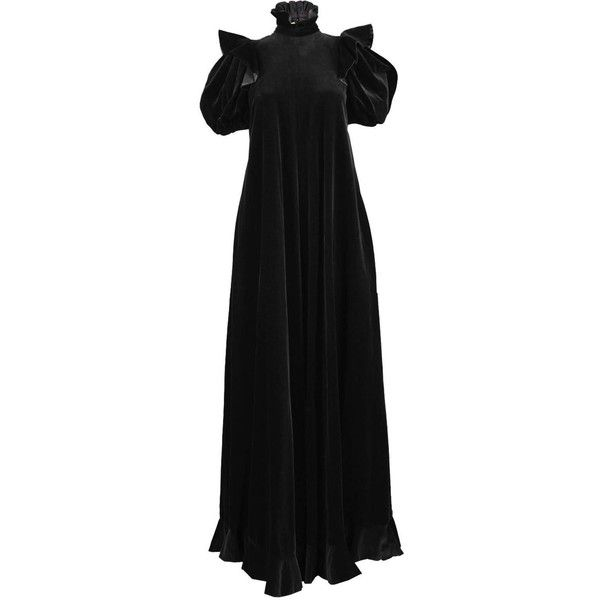 Gina Fratini Black Velvet Gown with Dramatic Puff Sleeve, 1970s ($759) ❤ liked on Polyvore featuring dresses, gowns, puff sleeve dress, vintage evening gowns, velvet dress, velvet evening dress and vintage dresses