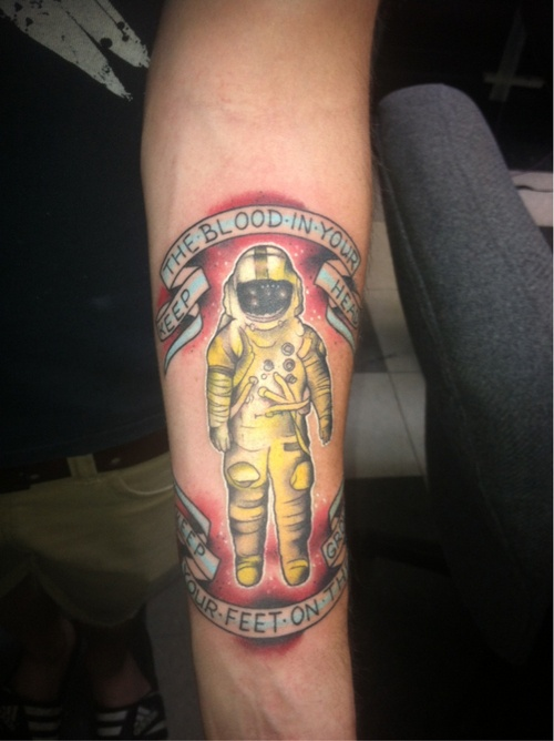 "From fuckyeahtattoos: ""My good friend Robert Spier at Third Eye Tattoo in Newnan, Georgia did this piece. It is the cover of Brand New's album, Deja Entendu. The lyrics are from my favorite song on the album. This took about two and a half hours to finish and I am more than happy with it."""