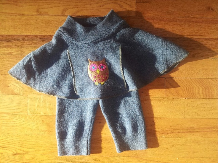 "100% WOOL Skirtie with a kangaroo pocket in front to store little treasures or keep little hands warm.  These are embellished with an embroidered owl.   Great diaper cover for daytime or as a ""bulletproof"" night time option."