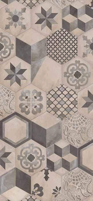 Marca Corona. Terra mix decorado hexagonal 25x21.6  #porcellanato #hexagonal #piso #revestimiento #mosaico #calcareo