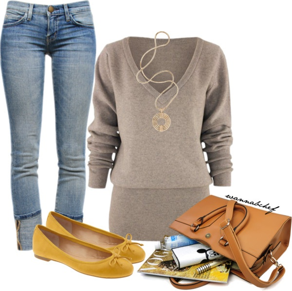"""Weekend Getaway"" by wannabchef on Polyvore I love the v-neck sweater"
