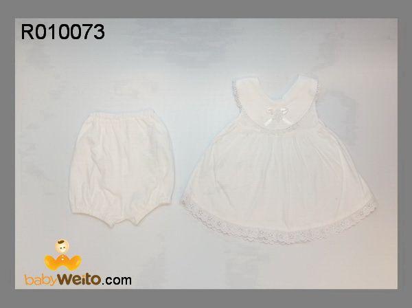 R010073  setelan Babtis Bunga Putih   Bahan halus dan lembut  Warna sesuai gambar  IDR 85*