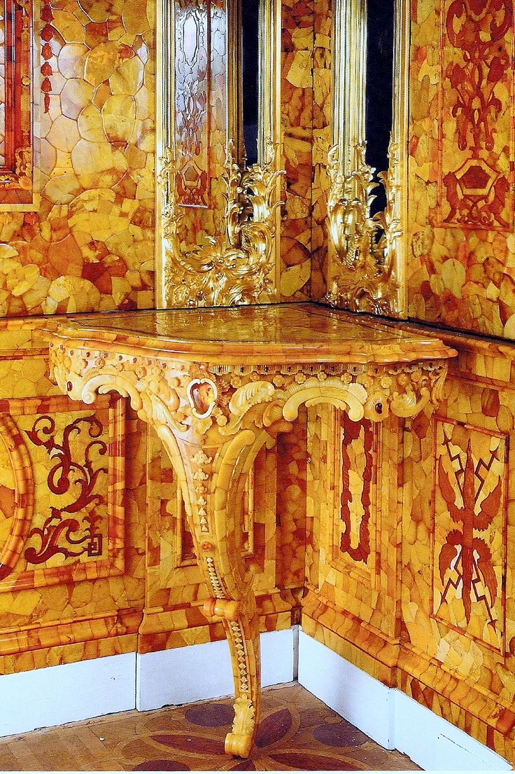 The Amber Room. Catherine Palace, Tsarskoe Selo, Russia.