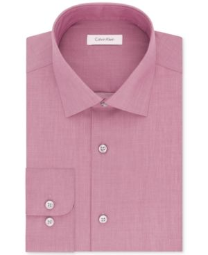 Calvin Klein Steel Men's Classic-Fit Non-Iron Performance Solid Dress Shirt - Pink 16.5 36/37