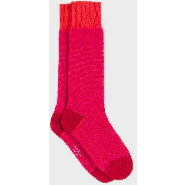 Paul Smith Women's Red Striped Fluffy Mohair-Cashmere Socks ($24) ❤ liked on Polyvore featuring intimates, hosiery, socks, red, cashmere socks, cashmere wool socks, paul smith, mohair socks and stripe socks