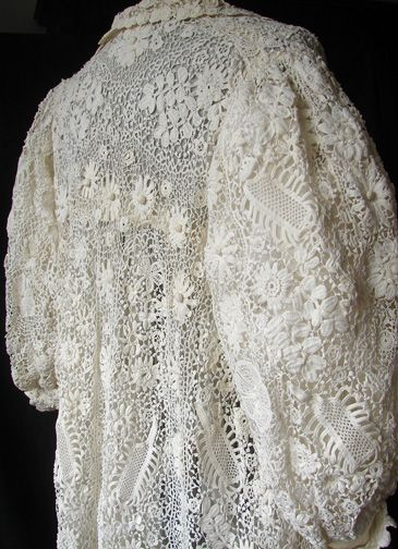 Maria Niforos - Fine Antique Lace, Linens & Textiles : Antique & Vintage Clothing # CL-31 Exquisite Irish Crochet Coat