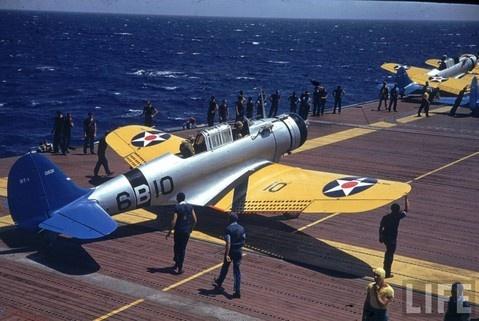 Dauntless SBD dive bomber aboard USS Enterprise (CV-6) off Hawaii, late 1940.