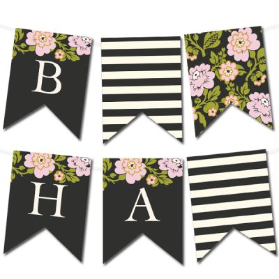 Free Printable Whimsical Botanical Banner from @chicfetti - type in your own letters