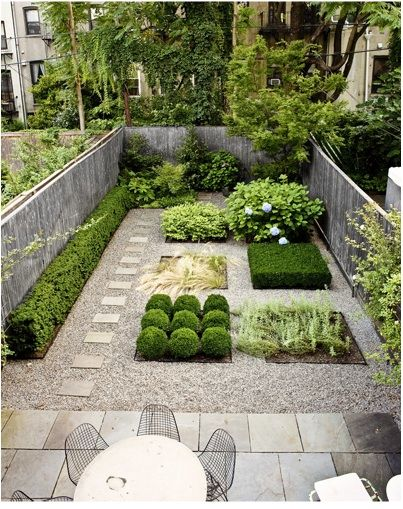 A Carroll Gardens garden designed by Susan Welti of Foras Studio from remodelista.com  This town home garden uses unique geometric shaped planters and is accented by natural stone pavers and patio.