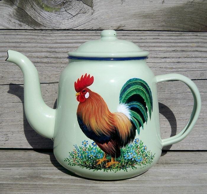 VTG Green Enamel Coffee Pot TEA KETTLE HP Rooster Art HandPainted Trish McMurry
