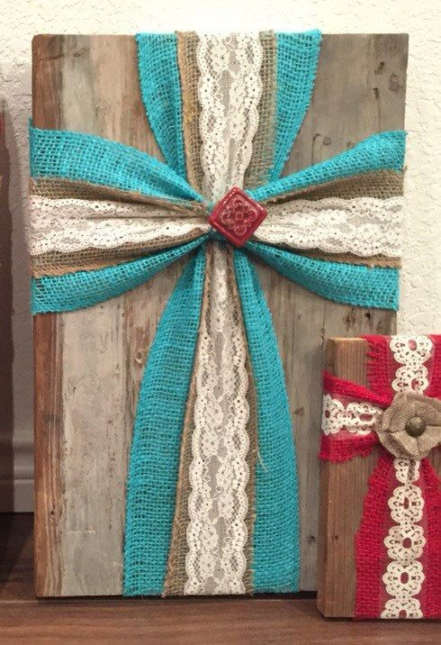 Large Burlap cross on old wood by TheColvinSix on Etsy