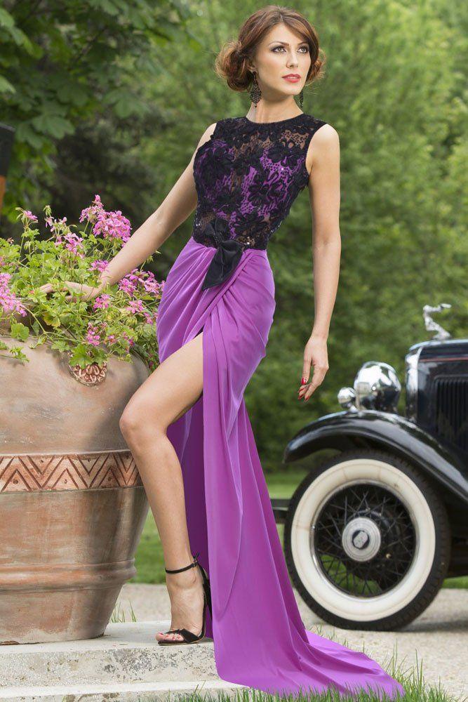 Achat Robes De Soiree Sheer Top Dentelle Robe De Luxe Violet Party €24.40 modebuy.com
