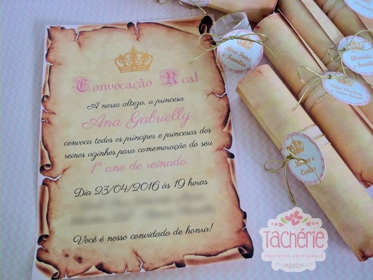 "Convite pergaminho super clássico e lindo no tema princesa, realeza, coroa... Seguindo o estilo de uma ""Convocação Real"".    Produzimos esse modelo em qualquer tema e para qualquer ocasião! Serve para temas como Pequeno Príncipe, Cinderela, Princesa Sofia, Ursinho, Príncipe, Piratas, Frozen, Bran..."