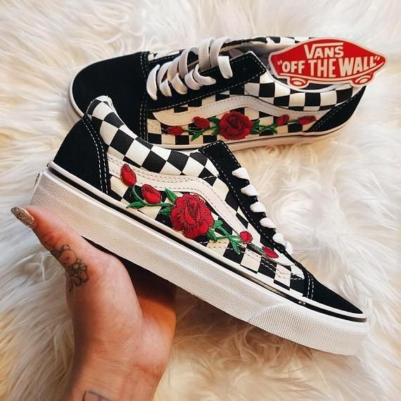 Vans n roses checkerboard with an embroidered rose patch stitched on to the  shoes. Express your creativity with the custom limited edition vans. aefbfcc2f