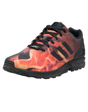 *ADIDAS *ZX Flux sneaker *Men's low top *Lace up closure *Fire graphic print  *Durable synthetic upper *Triple ADIDAS stripes logo branding detail on sides of shoe *ADIDAS TORSION plate lettering on lace pod *Cushioned inner sole for comfort *Traction rubber outsole for ultimate performance