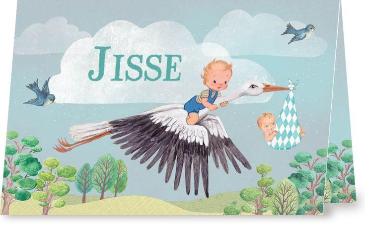 Geboortekaartje Jisse  Een lief geboortekaartje voor een klein broertje van www.petitkonijn.nl  #tweede kindje #babybroer #broertje #geboortekaartje #2e kind