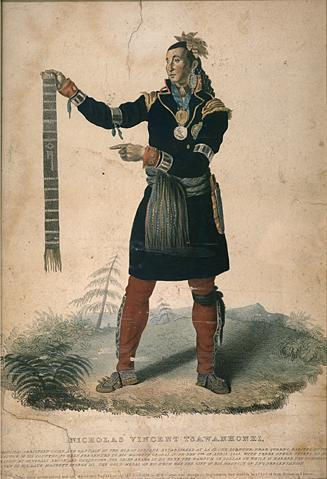 Nicholas Vincent Isawanhonhi Principal Christian Chief and Captain of the Huron Indians established at La Jeune Lorette near Quebec - depicted in 1825: