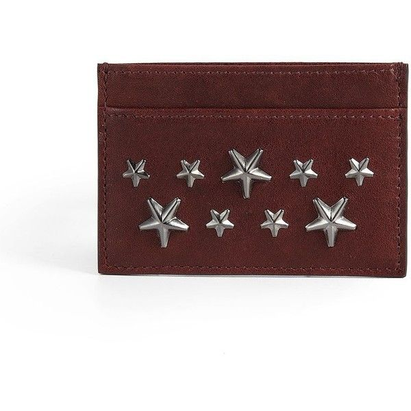 Jimmy Choo Stars Leather Card Case ($92) ❤ liked on Polyvore featuring men's fashion, men's bags, men's wallets, apparel & accessories, burgundy, mens card case wallet, mens leather card case wallet, mens slim wallets, mens leather credit card holder wallet and mens wallets