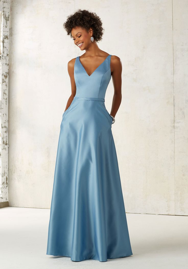 Morilee by Madeline Gardner Bridesmaids Style 21525 | Classic Satin A-Line Bridesmaids Dress with V-neck and Hidden Side Pockets. Zipper Back. Shown in Slate. Available in All Satin Color Options.