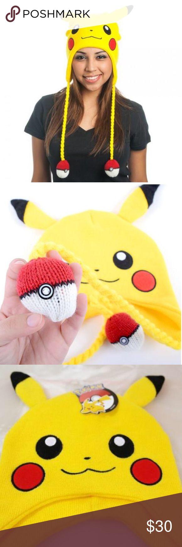 Pikachu Hat One size fits most cute poke ball tassels Pokemon Accessories Hats