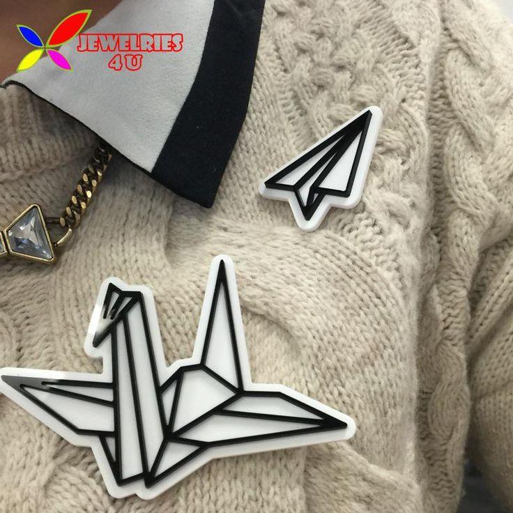 2015 броши аксессуары мода дизайнер старинные акриловые самолет оригами брошь пальцы для женщин пальцы broches купить на AliExpress