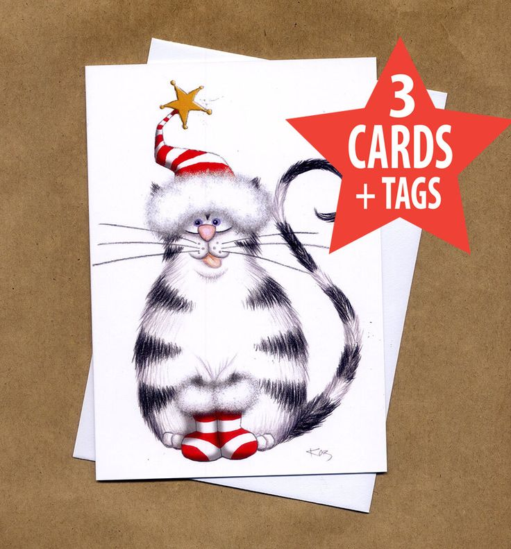 3 Christmas Cat Cards + 3 Gift Tags – Cat Christmas Cards, Cat Christmas Tags, Funny Cat Xmas Cards, Funny Christmas Cards, Santa Cards, Cat by kazartgallery on Etsy