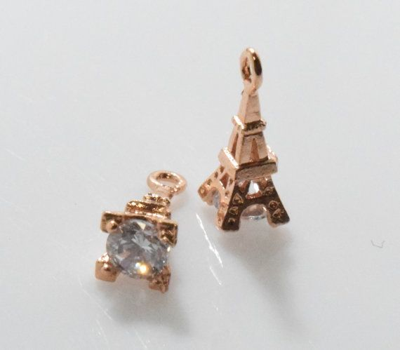 Eiffel Tower Cubic Pendant, Jewelry Supplies, Jewelry Making, Polished Rose Gold - 2pcs / UT0018-RG