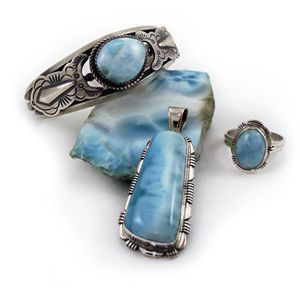 "Larimar is known as the ""Goddess Stone"" and is thought to connect the wearer with the Divine Feminine within."