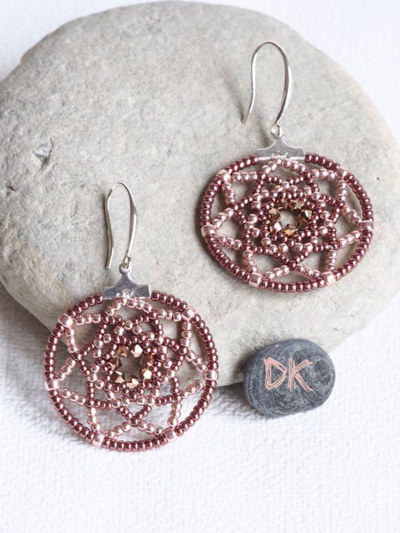 boucles doreilles créoles bijou or rose boucles par DKreationKitti