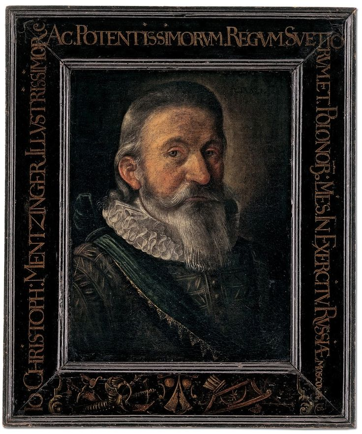 Portrait of Jakob Christoph Menzinger (1562-1637), mercenary in army of Sigismund III Vasa in Russia by Anonymous, 1614, Historisches Museum Basel; portrait of 52-year old Basel goldsmith, who probably began his military career after death of his wife Rosina (1567-1606)