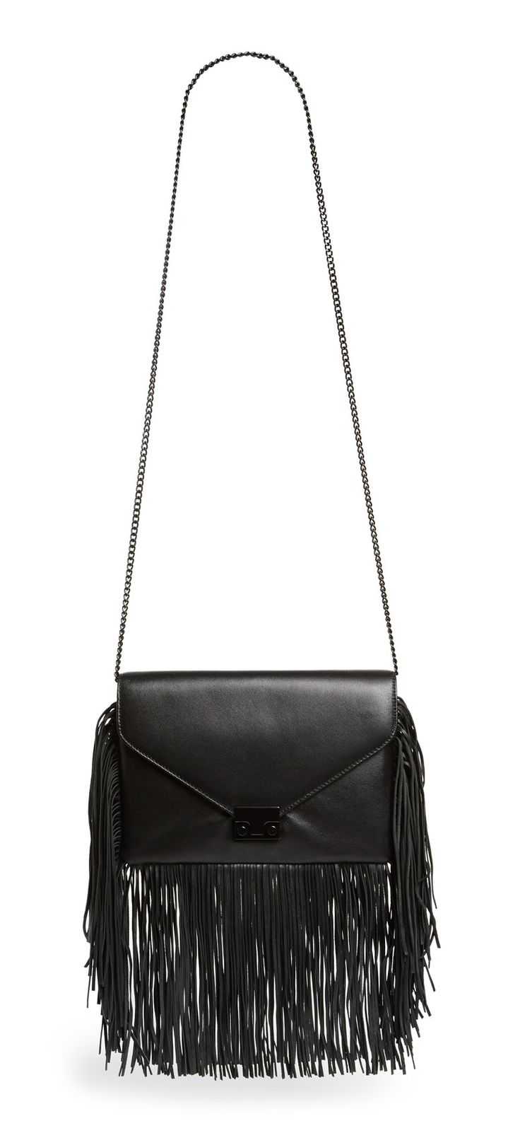 Swingy fringe lends a touch of boho flair to this leather bag that's perfect for any free spirited fashionista. Pair with a felt black fedora and a long, fringey cardigan for a fall take on hippie-chic.