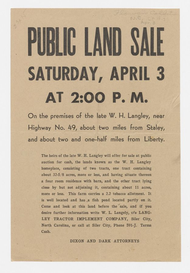 Public land sale. From Duke Digital Collections. Collection: Broadsides & Ephemera. Advertisement for a public auction of two tracts of land in Randolph County.