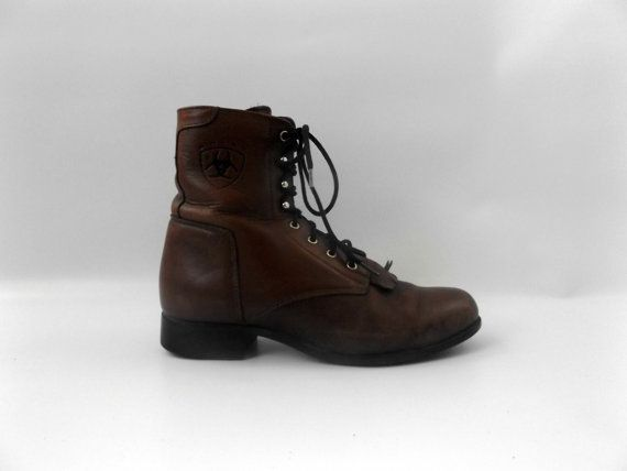 Ladies Roper Boots Brown Leather Lace Up by roadkillvintage  #roper#boots#ariat#western#cowboy#cowgirl#packerboots#hipster#boho#vintage#style#fashion
