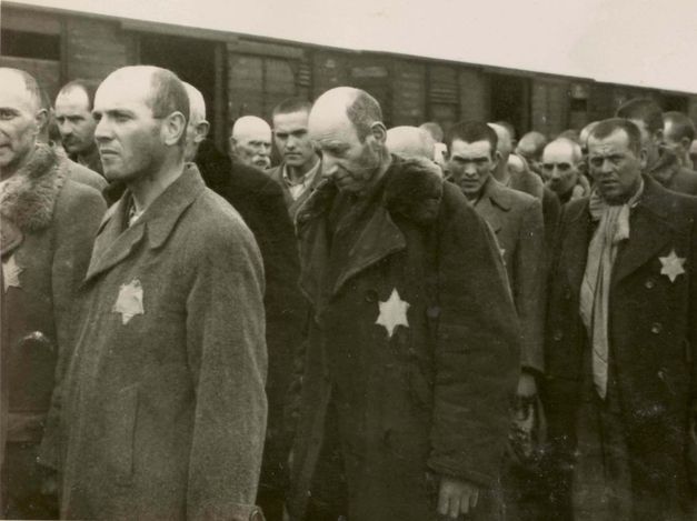 Name:                                                        Birkenau, Poland, Jewish men standing in line during selection, 27/05/1944​.