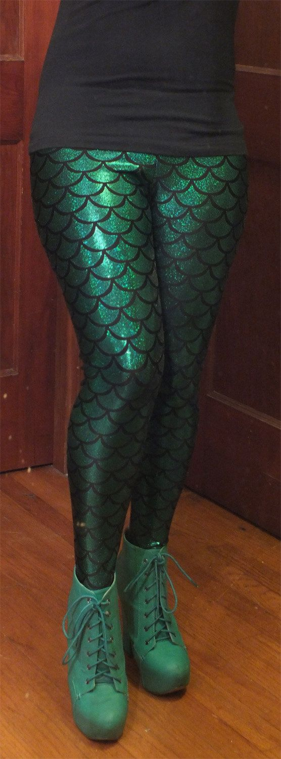 Mermaid Fish Scale Women's Spandex Leggings, Choose from 8 colors. $55.00, via Etsy. @catherinemae23