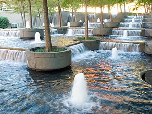 Fountain Place in Dallas. I played in these fountains. So soothing and awesome. I'm kindof compulsed to play in any water feature..