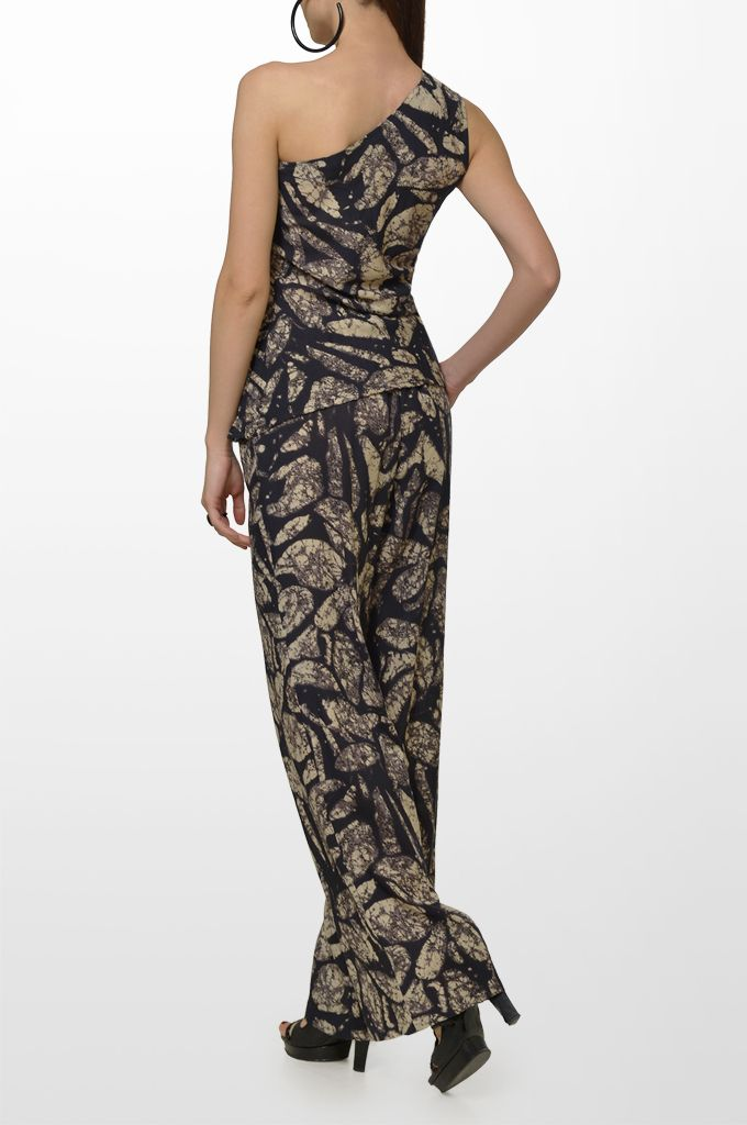 Sarah Lawrence - one shoulder printed top, drawstring printed loose trouser.