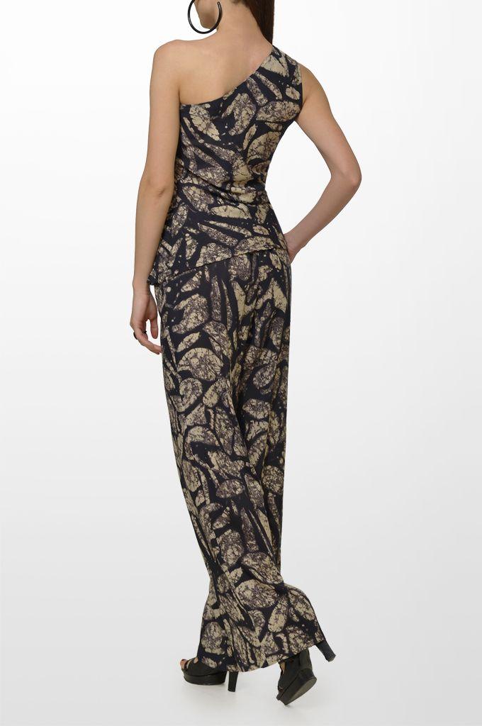 Sarah Lawrence - one shoulder printed top, drawstring printed loose trouser.