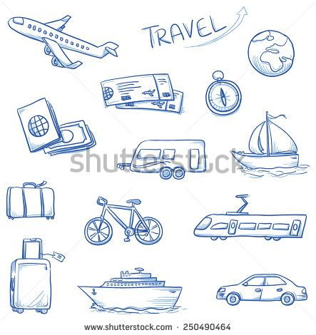 Icon set travel holidays, vacation with plane, car, train, bike, ship, compass, luggage, trailer, passport, globe, tickets. Hand drawn doodle vector illustration. - stock vector