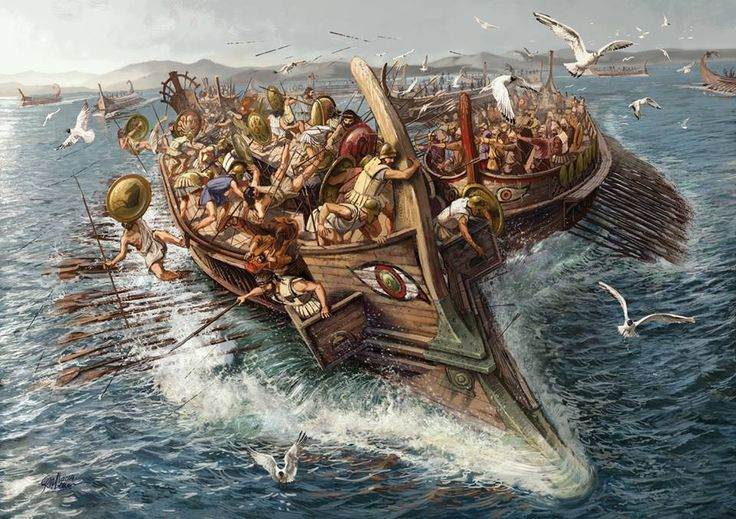 The Battle of Salamis (Ancient Greek: Ναυμαχία τῆς Σαλαμῖνος, Naumachia tēs Salaminos) was fought between an Alliance of Greek city-states and the Persian Empire in 480 BC, in the straits between the mainland and Salamis, an island in the Saronic Gulf near Athens. It marked the high-point of the second Persian invasion of Greece, which had begun that spring.