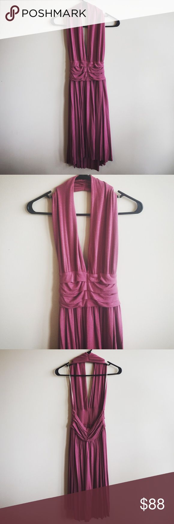 """Rachel Pally Rose Halter Dress Worn once; like new. Beautiful rose colored backless halter dress by Rachel Pally. Very soft, stretchy and comfy. Size X-Small. 92% Modal, 8% Spandex. Length from halter to bottom: approx 40"""" in front, 42"""" in back. Rachel Pally Dresses Backless"""