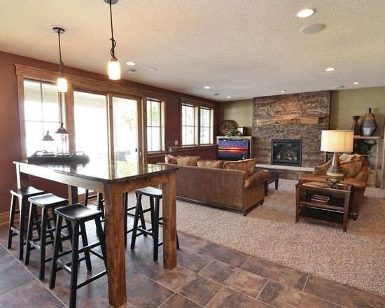 Basement Kitchen Island Bar Seating Design Pictures