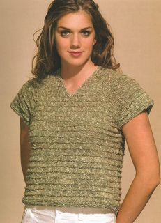 """""""Easy Does It! Pullover"""" Designed by Doreen L. Marquart. Knit with """"Summer Spun"""" from Farmhouse Yarns."""