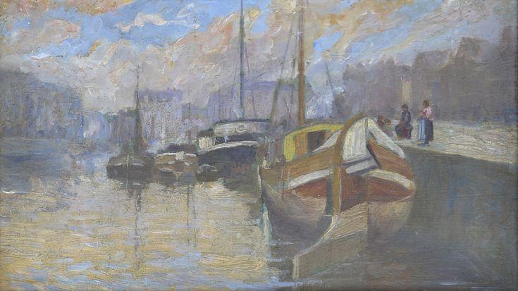 Adriaan Vandewalle (1907-1997) Titel: Woonboten aan de kade - Artiquair